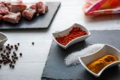 Ingredients For Beef Stew With Olive Oil, Paprika And Curry