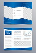 Business trifold brochure template - blue and white sleek modern design poster