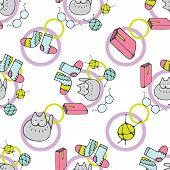 Cute Hand Drawn Cartoon Seamless Pattern