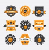 foto of crown  - Basketball set vintage emblems labels and logos or symbols with laurel wreath basketball ball crown and stars - JPG