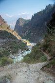 Marsyangdi River And Annapurna Mountain