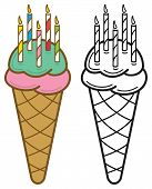 Birthday Candles Ice Cream Cone
