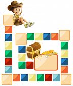 Illustration of a blank boardgame with a boy and treasure