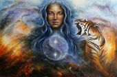 stock photo of goddess  - A beautiful painting oil on canvas of a female goddess lada guarding a sacred balance with a flying heron and a roaring tiger - JPG