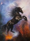 Black Unicorn Dancing In Space
