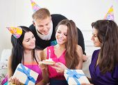 pic of congrats  - Portrait of joyful girl at birthday party surrounded by friends at party - JPG