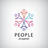 vector teamwork, social net, people together icon