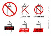 Vector Lactose Free Symbols On White Background