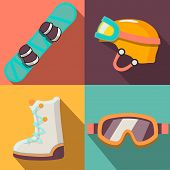 winter sport flat icons collection