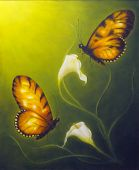 Beautiful Oil Painting On Canvas Of A Butterfly Fying Towards A Cala Flower