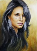 Beautiful Airbrush Portrait Of A Young Enchanting Woman make up Face Wit