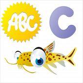 cute vector comic cartoon animals abc: C is for Catfish