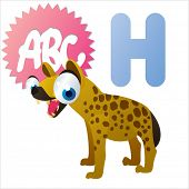cute vector comic cartoon animals abc: H is for Hyena