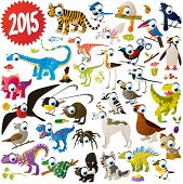 stock photo of skunk  - vector cute cartoon animals set - JPG