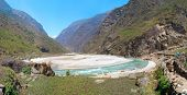 Panorama Of Marsyangdi River, Tibet, Nepal.