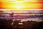 Surfer at the beach at sunset