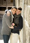 Young Happy Attractive Gay Men Couple Holding Rose Hugging And Kissing Outdoors Valentines Free Homo