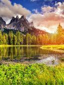 Great view of the foggy Lago Di Antorno in National Park Tre Cime di Lavaredo. Cadini di Misurina Range, Dolomites, South Tyrol. Location Auronzo, Italy, Europe. Dramatic morning scene. Beauty world.