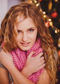 Happy new year girl in warm stocking clothes