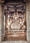 picture of ganesh  - Ganesh statue in the ancient temple of Hampi Karnataka India - JPG