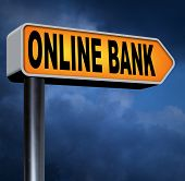 online internet banking money deposit bank account road sign