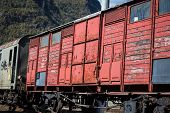 picture of boxcar  - Train boxcar in a town in Italy - JPG