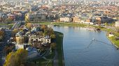 KRAKOW, POLAND - CIRCA OCT, 2013: Aerial view of the Vistula River in the historic city center. Vistula is the longest river in Poland, at 1,047 kilometres in length.