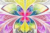 Multicolored Symmetrical Fractal Pattern As Flower Or Butterfly In Stained-glass Window Style. On Li