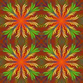 Beautiful Pattern From Fractal Flowers. Orange And Green Palette. Collection - Frosty Pattern. Compu