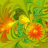 Flower Background. Orange And Green Palette. Fractal Design. Computer Generated Graphics.