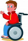 Smiling boy on wheelchair