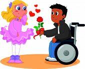 Pretty girl with boy on wheelchair