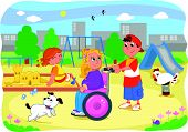 Kids at the playground with disabled