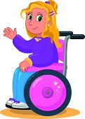 Happy girl on wheelchair