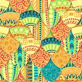 Hand-drawn doodle vector Happy Easter seamless pattern with eggs. Doodle style decorated easter egg