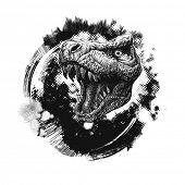 grunge background with trex. hand drawn. vector illustration