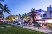People Enjoy Night View At Ocean Drive  In Miami