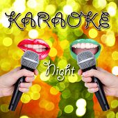 Open mouths with bright lipstick and microphones on bright lights background, Karaoke night concept