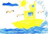 yellow ship and sea bird. child drawing.