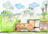 steam train. child drawing.