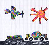 car and airplane on checkered paper. child drawing.