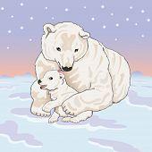 Polar she-bear with cub