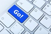 image of going out business sale  - Close up of Go keyboard button - JPG