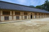 Exterior of the Tripitaka Koreana storage building at Haeinsa temple in Chiin-
