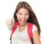 Excited Woman College Student