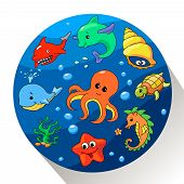 Cute sea creatures set. Vector illustration.