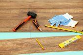 Carpenter tools on new laminate floor