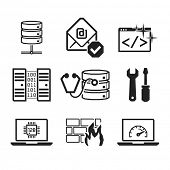 Computer repair icons set 02  // BW Black & White