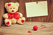 Valentines Day. Teddy Bear Loving With Red Hearts. Love Concept. Retro.