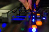 DJ mixer in a club, close up.
